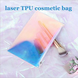 Fashion laser TPU cosmetic bag transparent zipper waterproof cosmetic gift travel storage bag dhl free