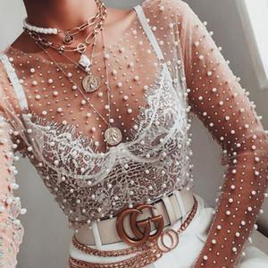 2020 Frühlings-Perlen verziert Spitzenbluse Mode Durch See Ineinander greifen Frauen Shirts Sommer Langarm-Perlen Female T Top