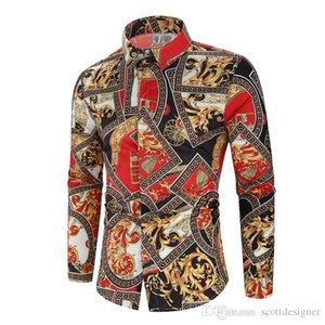 Gli uomini casuali camice Desinger risvolto maniche lunghe stampa floreale Homme Abbigliamento casual Abbigliamento Autunno Primavera