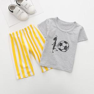 Conjuntos de meninos do bebê roupas de verão crianças camiseta + calças curtas de futebol impresso conjunto crianças meninas terno moda infantil roupas