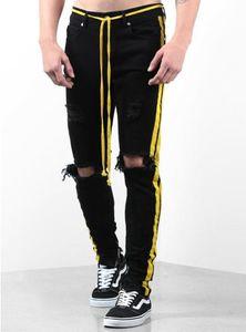 Mens Jeans Mens Distressed Zipper Skinny Jeans Men Hip Hop Pants Mens Designer Hole High Qualiy Denim Pants