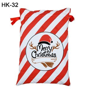 Hot Sale Christmas Gift Bags Red Stripe Drawstring Santa Sack Candy Santa Sack Canva Santa Bags