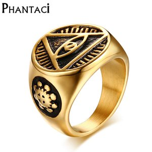 Phantaci Vintage Style Black Man Ring Illuminati Pyramide Augen-Symbol-Muster-Goldfarben-Qualitäts-Edelstahl-Mann-Ringe