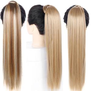 Saç adet Sahte Ponytail üzerinde Pony Tail Sentetik Saç Uzatma Uzantıları Wrap 24 inç Uzun Düz at kuyruğu Klip