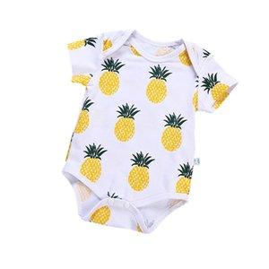 Bebê recém-nascido meninas roupas curtas macacãozinho Pineapple Impressão Outfit roupa de manga curta fina Crianças Verão Costume Fruit