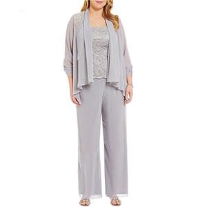 Plus la taille en mousseline de mariée marié mère pantalons de costume fête de mariage longue mère des robes de mariée avec la veste