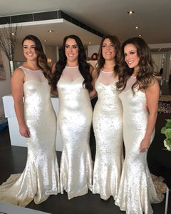 Sequined Bridesmaid Dresses Jewel Neck Sweep Train Sleeveless Plus Size Mermaid Maid Of Honor Dress Cheap Prom Gowns