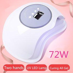 Nail SIMINAIL UV LED de alta potencia de la lámpara 72w rápido Tamaño Big Space curado para el secado de 2 Manos Pies Daul luz 365 nm 405 nm 72 vatios
