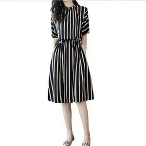 Liva girl 2019 Yeni Kadın İlkbaharYaz Diz Boyu Elbise Artı Boyutu O Boyun Yarım Kollu Elbise Baskılı Şerit A Hattı Elbiseler