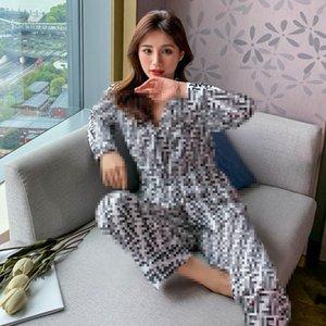 Été F Lettre Imprimé femmes Pyjama Europe et en Amérique Vente chaude soie de nuit Filles Casual Shirt Accueil Ensembles Vêtements
