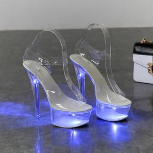 라이트 업 빛나는 신발 여성 발광 클리어 샌들 여성 플랫폼 신발 높음 발 뒤꿈치 투명 스트리퍼 웨딩 신발 T200111