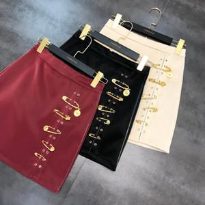Новая весна осень Металл Pin Кнопка A-Line юбка Женская высокая талия Pu кожаные короткие юбки