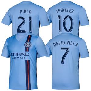 DAVID VILLA 19 20 New York Início azul Soccer Jersey 2019 2020 cidade MEDINA longe LAMPARD PIRLO Futebol camisa de manga longa Moralez Matarrita