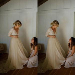 Пользовательские шампанские кружева свадебные платья 3/4 с длинным рукавом иллюзия лифа V шеи тюль линия садовый сад открытый свадьба свадебные платья M64