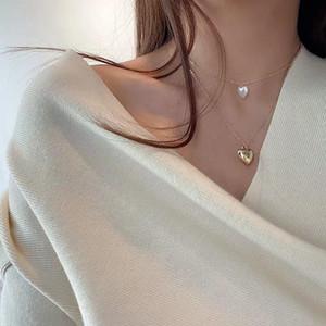 Kpop Moda Feminino Clavícula Heart-Shaped Pearl Pendant Peach Coração Multi-Layer clavícula cadeia Neck Colar Aesthetic Jóias
