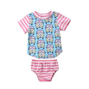 Auto-Print-Karikatur-netten Kleinkind-Kind-Baby-Outfits Kleidung Auto-T-Shirt Tops + Pants / Shorts 2ST Set