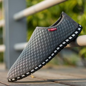 GOXPACER Verão homens sapatos de barco calçados casuais Moda Luz Homens Flats de rede respirável Calçados Homens Plus Size 39-45 preguiçoso deslizamento