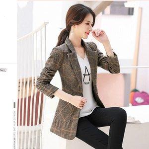 Peonfly Vintage Frauen Plaid Blazer Neue Herbst Langarm Single Button Slim Checked Coat Jacke Büro Anzug Dame Oberbekleidung SH190826