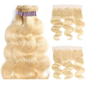 Hair Brazilian Body Designer Wave Human Hair Bundles Extensions 3 PCs with Lace Frontal Closure 613 Blonde Bundles wit