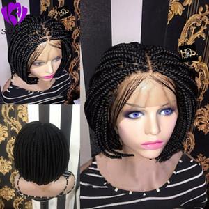Bebek saçlı Orta kısım afrika kadın stil Kısa Bob Örgülü Kutusu Örgü Peruk Isı Sentetik Elyaf Saç Tığ kısa dantel ön peruk