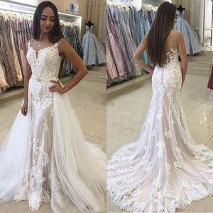 Vintage Mermaid Wedding Dresses With Detachable Train Sheer Neck Sweep Train Appliques Lace Garden Bridal Gowns vestidos de novia