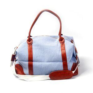 Neue Ankunfts-Art und Weise Frauen seersucker Seesack mit Monogramm Seersucker weekeder Tasche groß seersuck Tasche mit Ledergriff