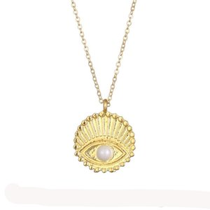 Fashion Devil's Eye Pendant Necklace For Women Carved Eye Gold Silver Color Wish Card Necklace Choker Jewelry for Girls