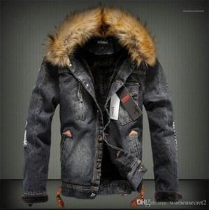 Kürk Lüks ile Kalın ceketler Moda Uzun Kollu Coats Sıcak Jeans eskitmek Kış Erkek Designer Mens