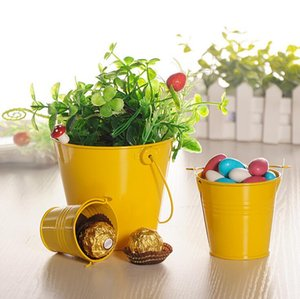 5Pcs Mini Cute Chocolate Candy Buckets Wedding Party Favors DIY Meaty Plant Flowers Tin Favor Babyshow Bucket Candy Box Supply