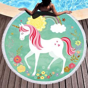 Полиэстер Круглых пляжного полотенца кисточка Одеяло Unicorn Yoga Mat шаль Wrap микрофибры Полотенце Гобелен пикник Коврик Скатерть VT1778