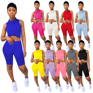 2020 NEW Summer Women Two Pieces Set Tracksuits Fitness Tops+Shorts Suits Sexy Night Joggers Sporty Sleeveless Outfits Crop Top Shorts