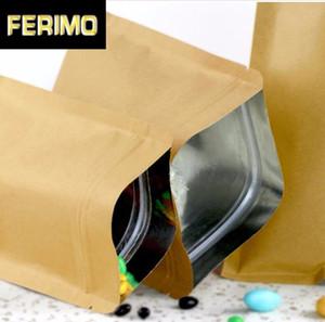 100pcs 280micron Düz Kraft Kağıt Torba Şeker powde Fındık Tahıl Kilitli Pirinç Çanta Kağıt Hediye Pencere Bags Packaging Kilit Hediye Zip