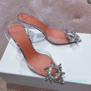 Women's transparent sandals with pointed toes xia 2019 new word with water diamond sexy baotou heels l14
