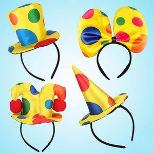 Симпатичная Новизна Клоун Hat оголовье для детей, взрослого Circus Clown Headwear Dance Party Cosplay Costume Dress Up Реквизит Хэллоуин