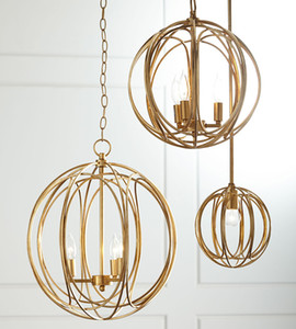 Stile americano creativo campagna moda camera da letto tavolo da pranzo portico corridoio gabbia circolare oro / lampadario d'argento luci a led