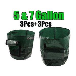 6Pcs Garden Plant Potato Grow Bags With Handles Access Flap Durable Reusable