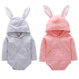 Cute Baby Rabbit Pagliaccetti Boy Girls Coney Tuta Coney Dress Easter Rabbit Ears Felpa con cappuccio Dress Abito a righe Abiti da bambina Abiti pasquali