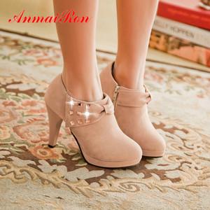 Toe ANMAIRON Flock redonda fina del talón invierno de las mujeres botas de plataforma sólida Básica 2020 botas del tobillo de cremallera de las mujeres forman los zapatos