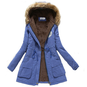 Kadınlar Kış Sıcak Ceket Kadın Sonbahar Kapüşonlu Pamuk Kürk Artı Boyutu Temel Ceket Giyim Ince Uzun Bayanlar Chaqueta T190817
