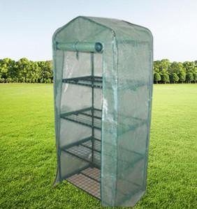 Jardín Invernaderos 4 estantes de la casa verde tubo de hierro plegable Con PE malla cubierta de tela de efecto invernadero mini portátil al aire libre Fower Casa GGA2183