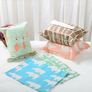 Cartoons Pattern Tissue Box Cotton Linen Home Car Napkin Paper Containers Cute Paper Towel Napkin Tissue Cases Pouch Home Decor