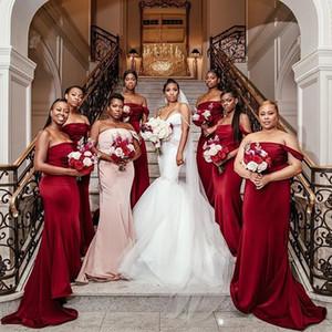 Por encargo de la South African Borgoña sirena vestidos de dama de largo sin tirantes 2020 más el tamaño de vestidos de dama de honor
