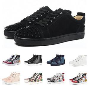 2019 Christian Louboutin Diseñador de Marca Rojo Parte Inferior Tachonada Spikes Pisos zapatos Para Hombres Mujeres negro blanco azul Partido amantes de cuero genuino zapatillas de deporte casuales