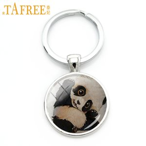 Cheap Key Chains TAFREE 2017 Funny Panda keychain eyes black ears animal Family affection Mom's Love for women men gift
