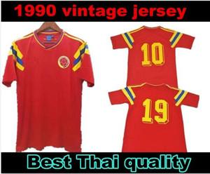 # 10 Valderrama # 9 Guerrero Colômbia 1990 camisa de futebol retro vermelho clássico comemorar antigo Vintage Collection camisa de futebol Camiseta