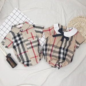 INS Infant Kids Plaid Romper Baby Girls Bows Tie Lapel Short Sleeve Jumpsuits Designer Baby Boy Clothes Newborn Kids Cotton Diaper