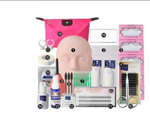19pcs pestañas falsas Extensión Ejercicio de práctica kit de maquillaje Maniquí Head Set Herramientas de injerto de pestañas pestañas práctica de injerto