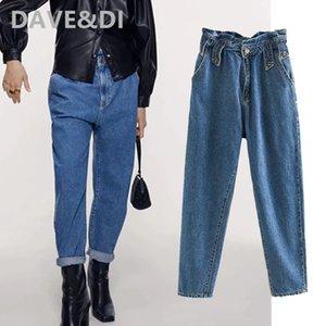 Davedi 2020 Inglaterra de la calle principal de la mujer pantalones de harén mamá vendimia vaqueros lavados de alta cintura suelta novio remache de las mujeres