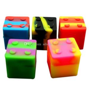 5pcs / lot 9ml forma di mini Cube assortiti contenitore di silicone di colore per Dabs Forma rotonda contenitori di silicone cera vasi di silicone Dab contenitori