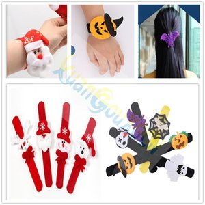 Christmas Halloween Decorations Pops Pumpkin Spider Skull Ghost Bracelets Pat Circle patry Kids toy Gift Wristband Patting Circle